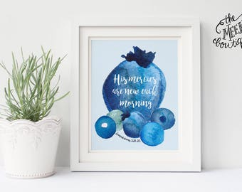 INSTANT DOWNLOAD, Scripture Art, Lamentations 3:22-23; Blueberry, Printable No. 734