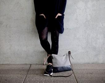 Cross body bag gray canvas fabric, cross body purse, leather strap handmade shoulder bags, gold