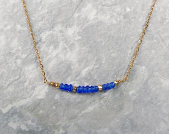 Sapphire Blue Gemstone Bar Necklace with 14K Gold Filled Chain & Clasp, Handmade Gemstone Layering Necklace, Simple Necklace, Gem Necklace