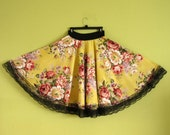Full Circle Skirt, Floral Yellow with Black Lace, Midi 50s Swing, Vintage Fabridc, Mori Girl, Designed by Sandrine Olivier, Made in USA