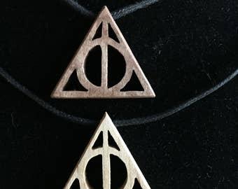Wood Deathly Hallows pendant