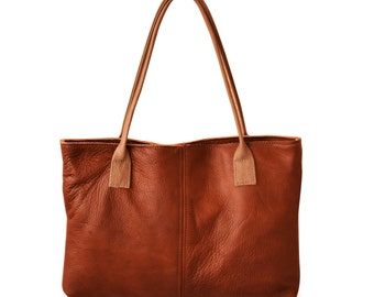 brown leather tote, Italian leather handbag, simple leather tote, everyday leather tote, brown shoulder bag, over shoulder handbag