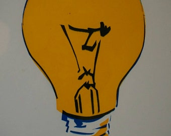 A3 lightbulb screenprint. Printed in bright yellow and electric blue