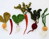 Set of mini vegetables - play food vegetables - Baby photo prop soft toy - knitted vegetables green white Spring gardening