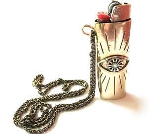 Evil Eye Lighter Case Necklace // All Seeing Eye, Lighter Case Necklace, Smoking Accessory