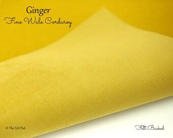 Ginger Corduroy // Robert Kaufman Fabric // Fabric Felt // Felt Backed Fabric // 21 Wale Corduroy // Fine Wale Corduroy // Fine Baby Wale