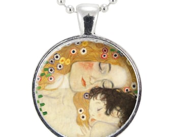 Mother and Child by Gustav Klimt Necklace, Art Pendant, Silver Plate (0453S25MMBC)