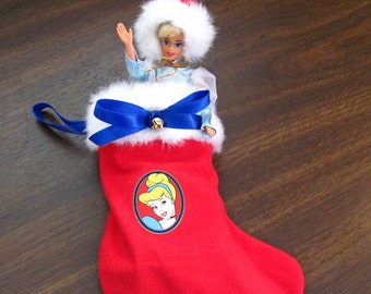 Disney Cinderella Christmas Stocking with Cinderella 'Barbie' Doll ~ Vintage 1990's Retired
