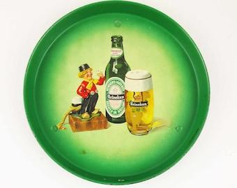 A 'Heineken' Bar Tray - Green Tray For a Wet Bar - Heineken Beer - Dutch Guy With Pipe - Holland - Beer Product From Heineken - Collectibles