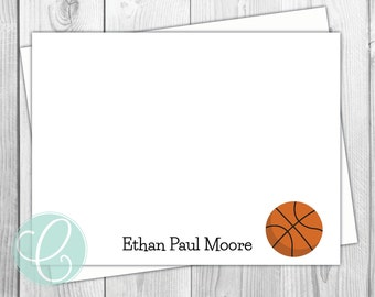 Basketball Boys Note Cards - Stationery - Sports Boy Flat Note Cards - Set of 12 - Personalized Birthday Thank You Cards - Baby Little Boy