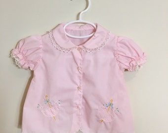 60s Pastel Pink Embroidered Umbrellas Short Sleeve A-Line Dress, Baby Girls Size 0 to 6 Months