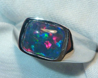 Mens Opal Ring Sterling Silver, Natural Opal Triplet. 10x8mm Rectangle. item 060668