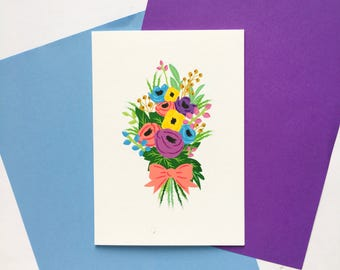 Pastel Flower Bouquet Card // Birthday // Anniversary // Wedding // Thanks // Mothers Day // Thinking of You // Congratulations // Sympathy