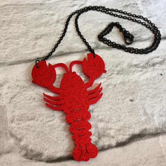 Red Glitter Acrylic Lobster Pendant Chain Necklace