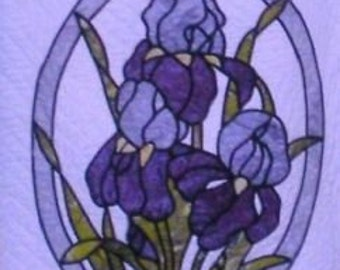 Bearded Iris Stained Glass Quilt Pattern by Ravenwood Desings