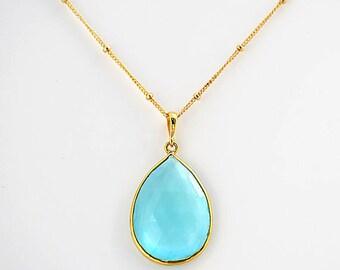 Blue Topaz Necklace - December Birthstone jewelry - tear drop gemstone necklace - bezel set necklace, bridesmaid necklace, London blue topaz
