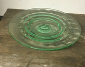 Cake Stand, Crystal Stand, Green Glass, Glass Cake Stand, Party Decor, Bridal Shower,Wedding Decor,Birthday Cake,Pedestal Stand,Jadite Glass
