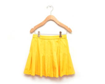 80s Yellow Pleated Tennis Skirt Women's Size 6 Small Lily's of Beverly Hills