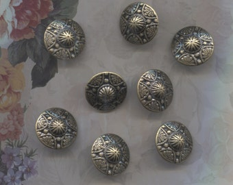 Set of 8 Pretty Brass & Black Metal Buttons-( 7/8 inch)-Item#89