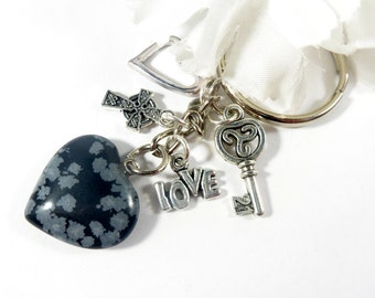 Snowflake Obsidian Gemstone Keychain, Gemstone Heart Key Chain, Energy Healing Charm Keychain, Celtic Cross Love Keychain, Protection Amulet