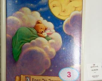 nib vintage hallmark baby album book teddy bear so sweet unused