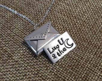Love You To the Moon Necklace, Hidden Message Necklace, Personalized Necklace, Mother Daughter Necklace, Envelope Message Necklace, Handmade