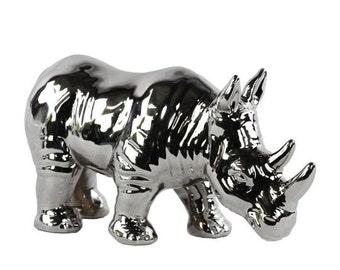 Chrome Rhino Figurine, Rhino Figurine , Rhino Nursery Decor, Table Top Decorations, Nursery Animal Statue, Kids Room Decorations