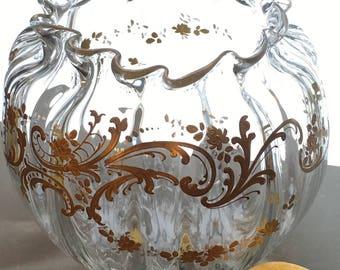 Round Fluted Bowl Clear Glass Hand Painted Gold Flower Leaf Pattern Ribbed Appliqué Gold Leaf Gold Paint Rose Bowl Flower Vase Home Decor