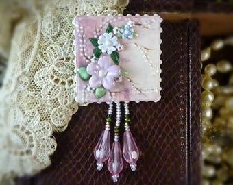 Brooch Pink and Blue Watercolor Pin