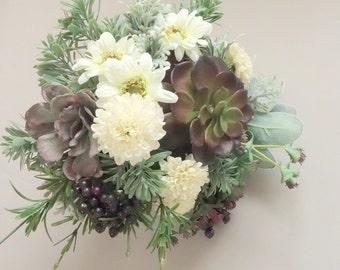 Succulent Wedding Bouquet, Woodland Bouquet, Natural Wedding, Greenery Wedding, Faux Bridal Bouquet, Succulent Bouquet, Spring Wedding