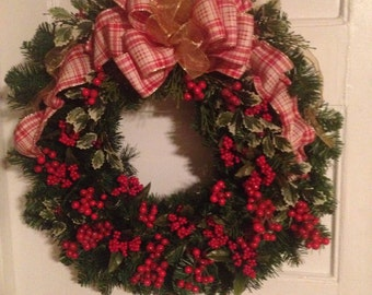 Christmas Wreath, Holly Berry, Red Berry Christmas Wreath, Holiday Decor, Front Door Pine Wreath