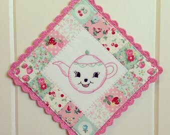 custom/recreate a sweet teapot embroidered pot holder