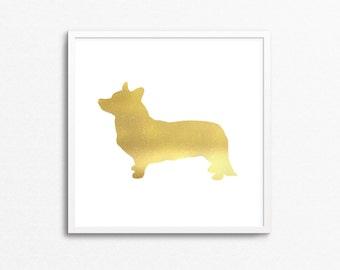 Gold Foil Corgi Print - Gold Stamp- Dog, Puppy - (No Frame)