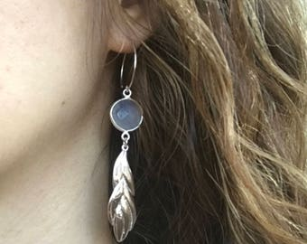 Long Dangle Leaf Earring- Chalcedony Statement Vine Earring- Gray Gemstone Drop Earring- Unique Bold Earring- Sterling Silver Earring