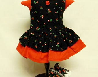 Cherry Print Tiered Dress For 18 Inch Doll Like The American Girl