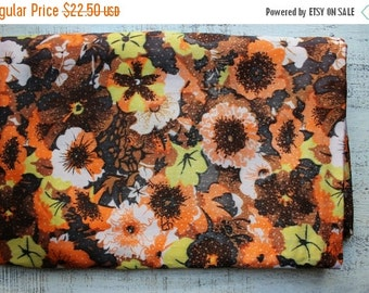FLASH SALE Vintage viscose fabric 3.7 yards in 1 listing floral orange brown yellow floral hippie gipsy boho