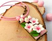 Sakura, Pink Necklace, Cherry blossom, Sakura Jewelry, Pink Jewelry, Flower Necklace, Spring Jewelry, Romantic Jewelry, Gift For Women
