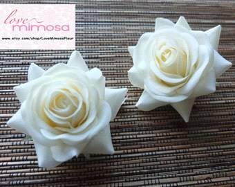 A pair of Ivory Roses Hair clips, Wedding Accessories, Wedding Hair Flowers
