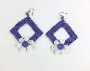 Crochet Daisy Earrings - Purple Square Earrings - Turkish Oya - Unique Crochet Jewelry -  Spring Summer - Floral Jewelry -Gift For Her