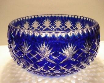 Large Cobalt Blue Cut to Clear Bowl, Pineapple Cut