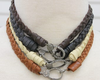 Deerskin Natural leather braided necklace with pave diamond lobster claw clasp, Pave Diamond Choker(DCH-034)