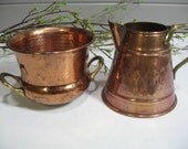 Copper Containers, , Small Copper Pitcher and Bowl, Rustic, Country, Cottage, Farmhouse Kitchen