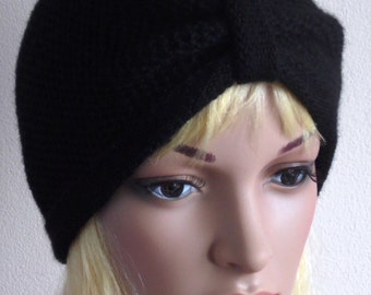 Black turban, knitted women's turban hat, handmade hat for women, fashion turban, knitted hat, knitted from acrylic