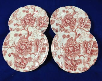 """Johnson Brothers, Pink English Chippendale, 4 Bread & Butter or Dessert Plates, 6"""", Made in England"""
