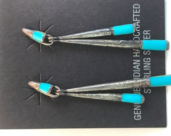 SALE Vtg New old Stock Inlaid Turquoise Earrings
