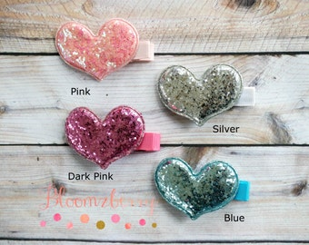 Sequin Heart Hair Clip - You Choose Color- Baby Hair Clip/Valentine/Photo Props/Gift - Girl Hair Clips - Hair Clippies-Baby to Adult