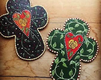 CROSS CROSSES hand painted heart folk art religious christian wall decor art gift cross crosses