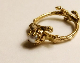 Petite Pearl Twig Ring in 14K Gold  - Cast From a Real Twig - made to order