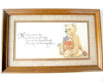 Framed Bear Print, Vintage Bear Print, Vintage Childs Prayer Print, Vintage Nursery Decor, Vintage Bear and Prayer Print, Nursery Wall Art