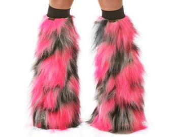Furry Leg Warmers - Pink White Black Fuzzy Boot Covers - Rave Fluffies - TrYptiX Camo Long Pile Faux Fur Boot Covers -